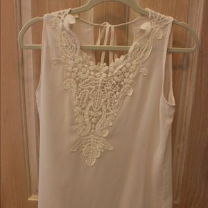 Tops - Creme sleeveless blouse